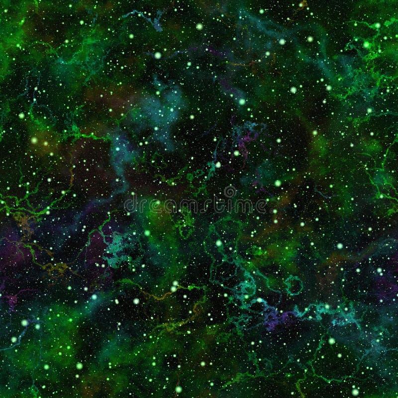 Universo verde claro abstracto, cielo estrellado de la noche de la nebulosa, espacio exterior brillante, fondo galáctico de la te libre illustration