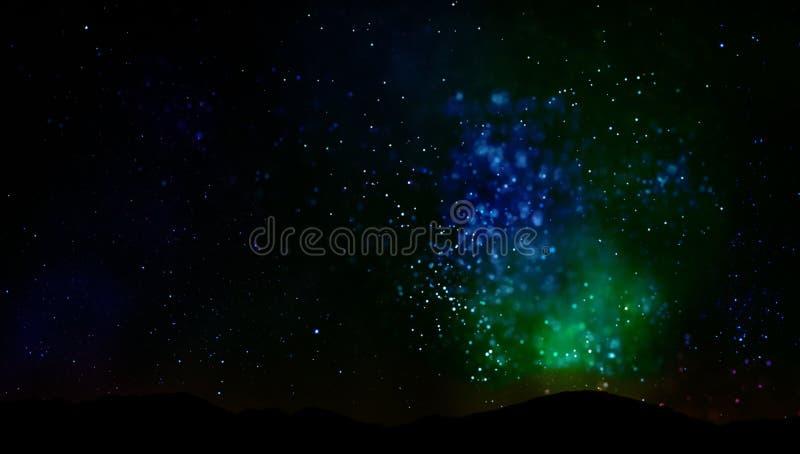 Universum för natthimmel och stjärnalandskap stock illustrationer