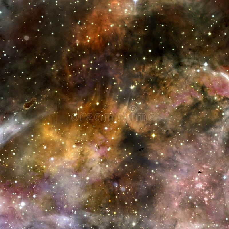 Universum fyllde med stj?rnor, nebulosan och galaxen stock illustrationer