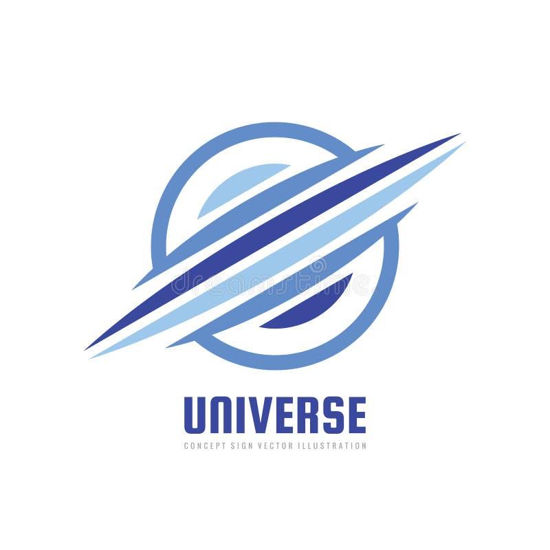 Universum - Konzeptgeschäftslogoschablonen-Vektorillustration Kreatives Zeichen des abstrakten Raumplaneten Fortschrittsentwicklu vektor abbildung