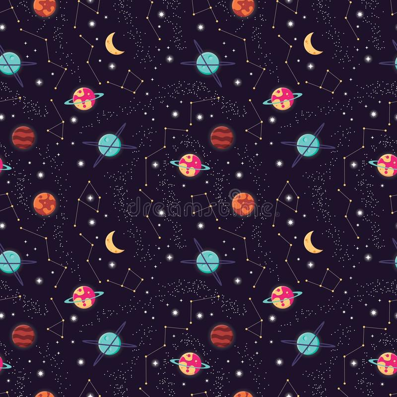 Universum med planeter och stjärnor sömlös modell, himmel för stjärnklar natt för kosmos vektor illustrationer