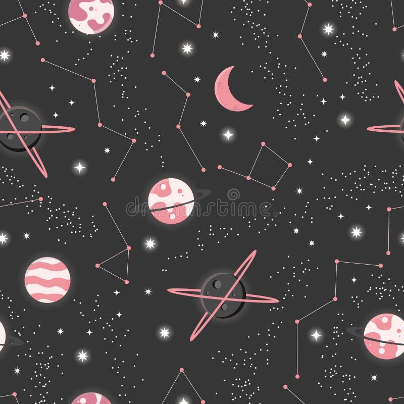 Universum mit Planeten und Sternen nahtloses Muster, sternenklarer nächtlicher Himmel des Kosmos vektor abbildung