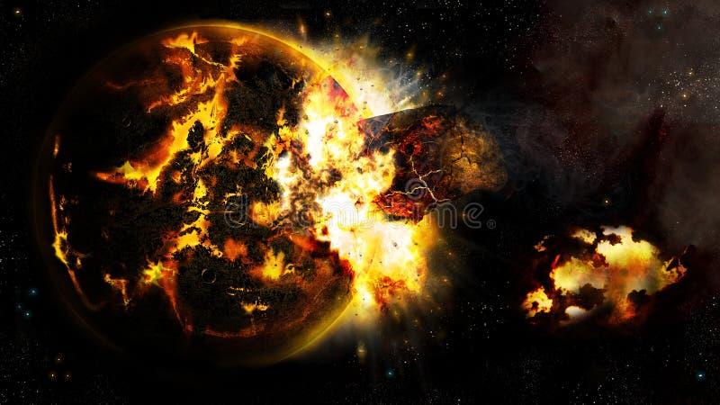 Universum und der unterbrochene Planet 2 vektor abbildung