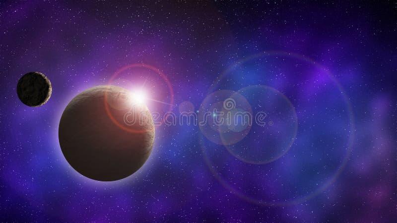 Universum und Raumplanet mit Mond bei Sonnenaufgang stock abbildung