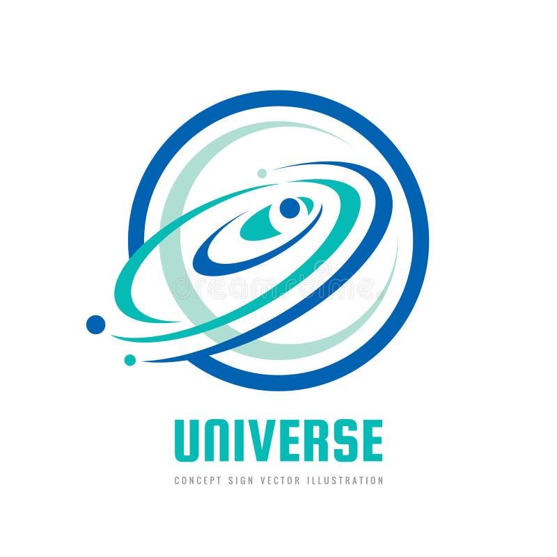 Universum - vektorlogobegrepp Abstrakt utrymmeillustration Solsystemtecken Galax- och planetsymbol vektor för bild för designelem vektor illustrationer