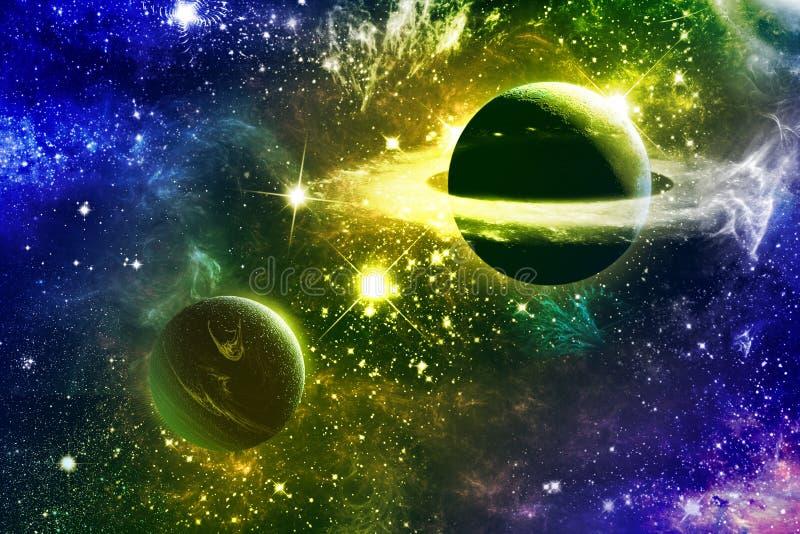 Universumgalaxienebelflecksterne und -planeten lizenzfreie abbildung