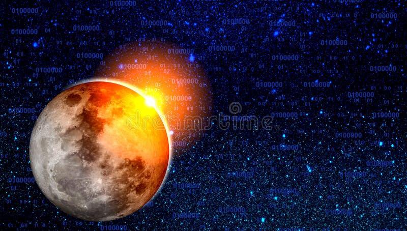 Universumgalaxienebelflecksterne und -planeten Technologie-Konzept-Hintergrund stock abbildung