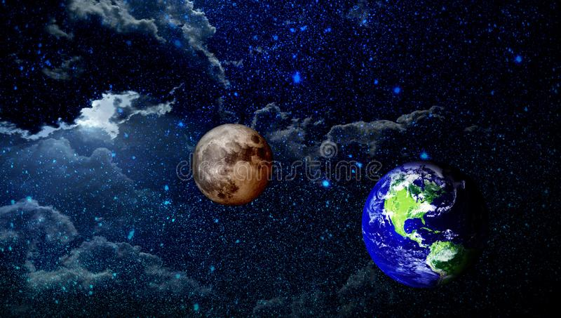 Universumgalaxienebelflecksternwolken und -planeten lizenzfreie abbildung