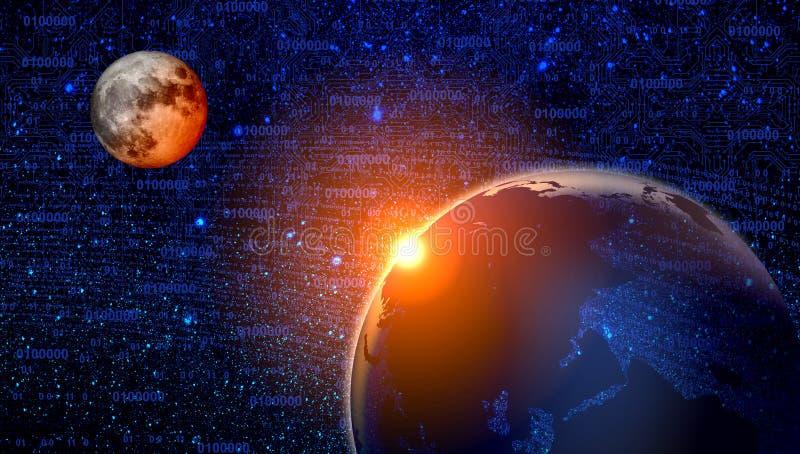 Universumgalaxienebelflecksternwolken und -planeten Technologie-Konzept-Hintergrund stock abbildung