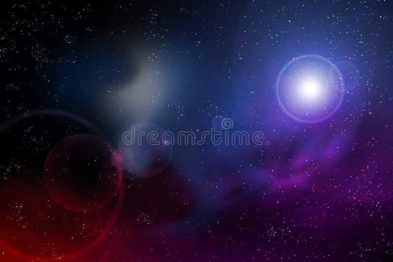 Universumhimmelnacht mit einem Sternaufflackern- und -kopienraum für Ihren Text stock abbildung