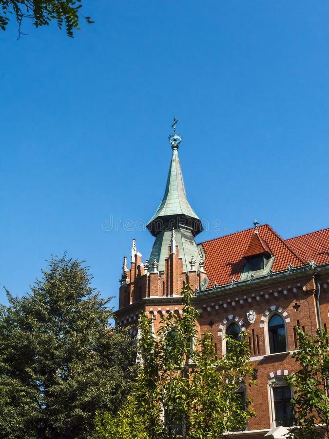 Uniwersyteccy budynki w Plant parku w Krakow Polska obrazy royalty free