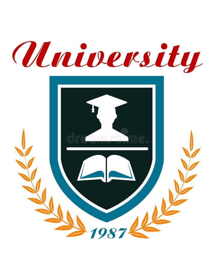 Uniwersytecka odznaka lub emblemat ilustracja wektor