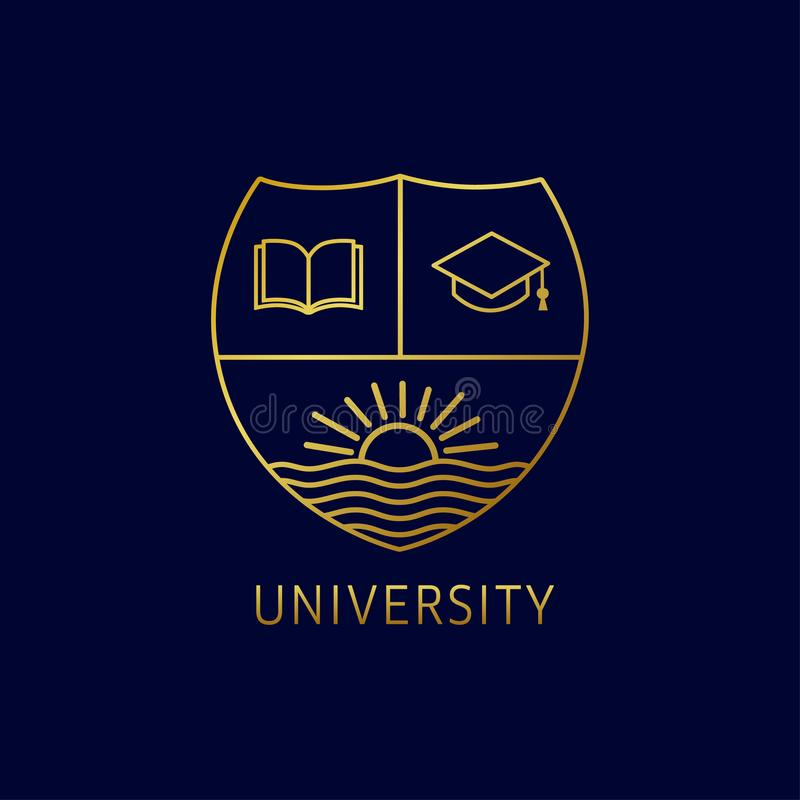 Uniwersytecki edukacja loga projekt z otwartą książką, kwadratową akademicką nakrętką i słońcem na rzece, royalty ilustracja