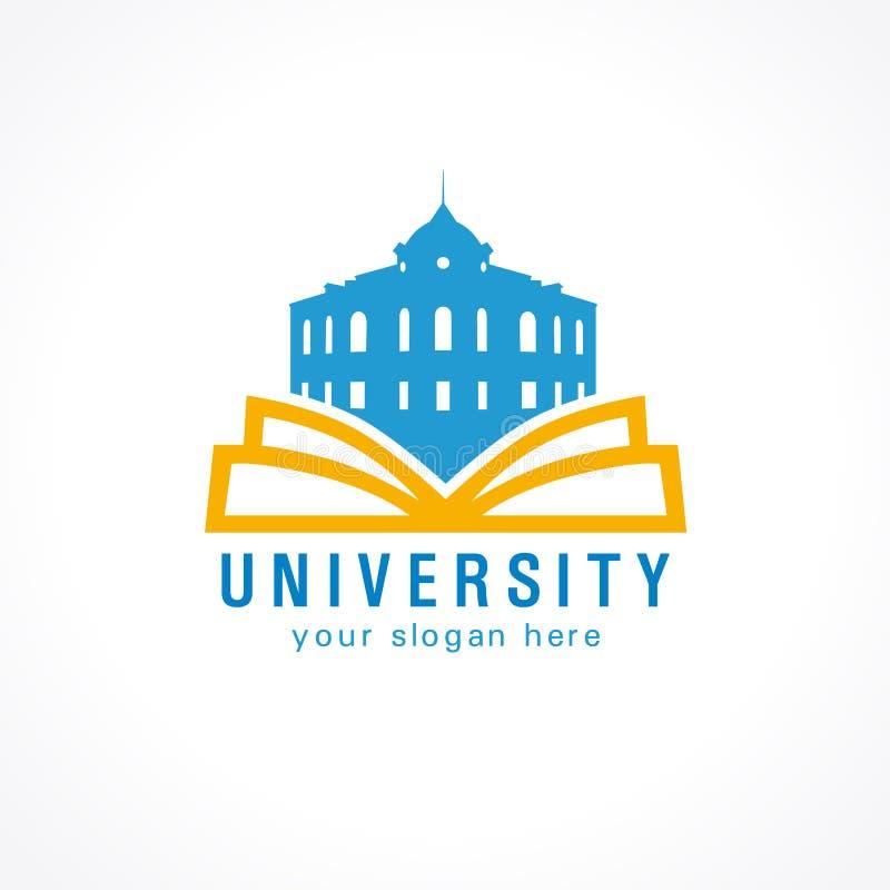 Uniwersytecki wektorowy logo Biblioteki, szkoły średniej lub uniwersyteta logo, ilustracja wektor