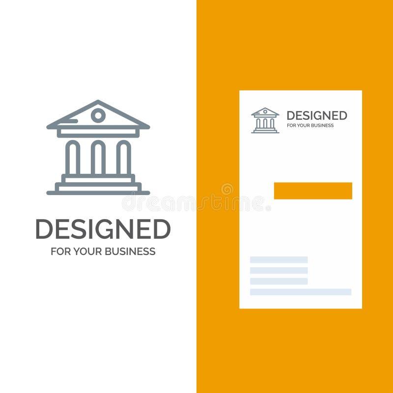 Uniwersytet, bank, kampus, sądu logo Popielaty projekt i wizytówka szablon, ilustracja wektor