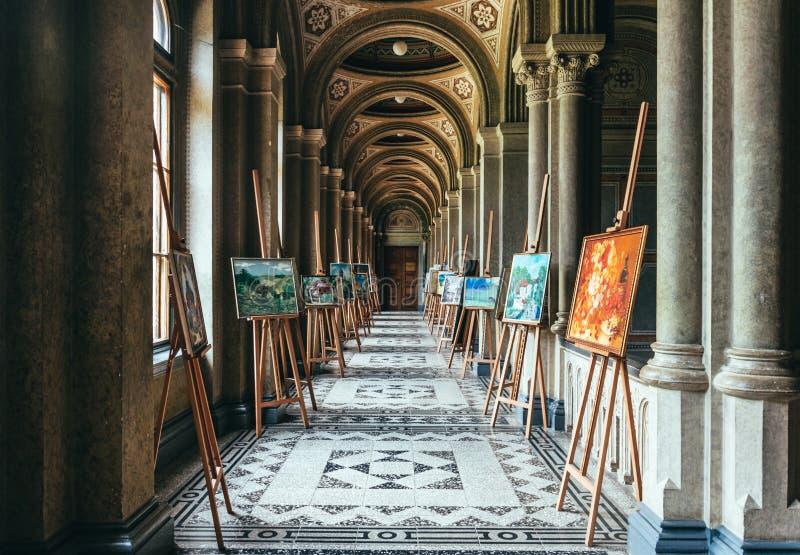 Uniwersytet, Chernivtsi Antyczny łukowaty korytarz Unesco światowe dziedzictwo obrazy royalty free