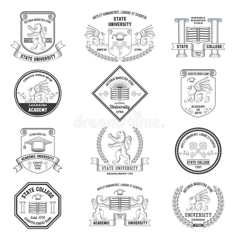 Uniwersytet etykietki Ustawiać ilustracja wektor
