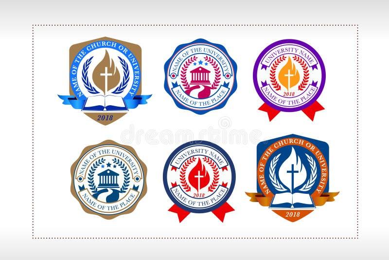 Uniwersytet, szkoła, Kościelny loga typ set, chrześcijański instytucja logo royalty ilustracja