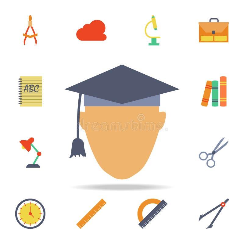 uniwersyteta absolwenta barwiona ikona Szczegółowy set barwione edukacji ikony Premia graficzny projekt Jeden inkasowe ikony dla royalty ilustracja