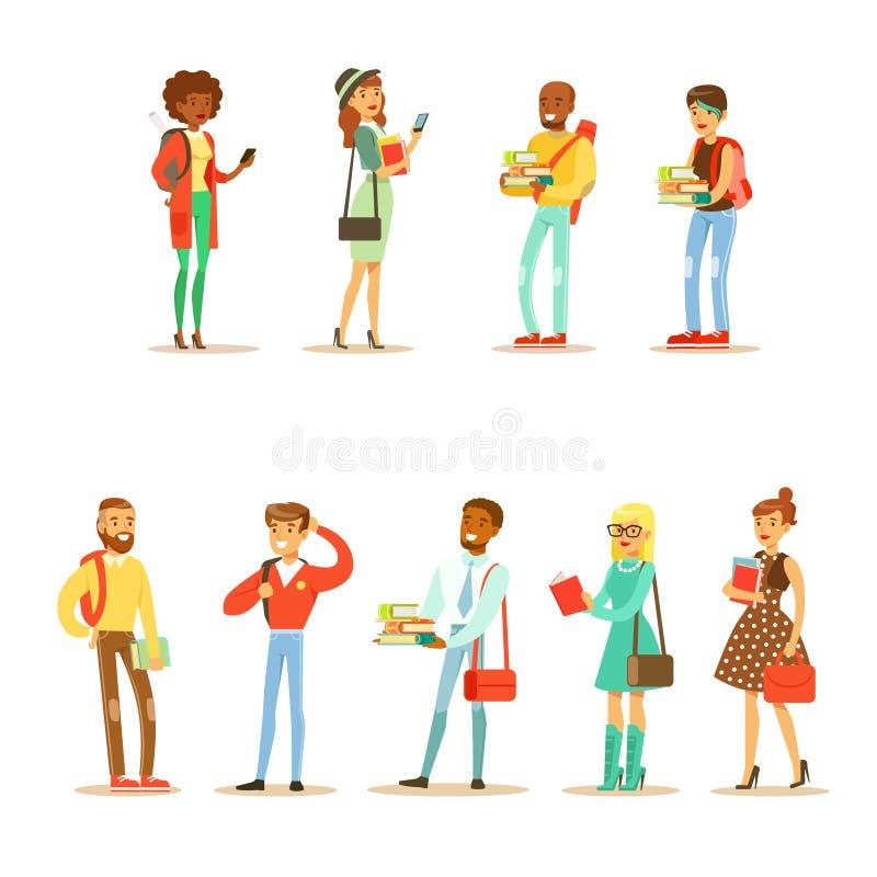 Uniwersyteta I studentów collegu Uliczna moda Patrzeje kolekcję Z młodymi człowiekami I kobietami Z torbami I książkami ilustracja wektor