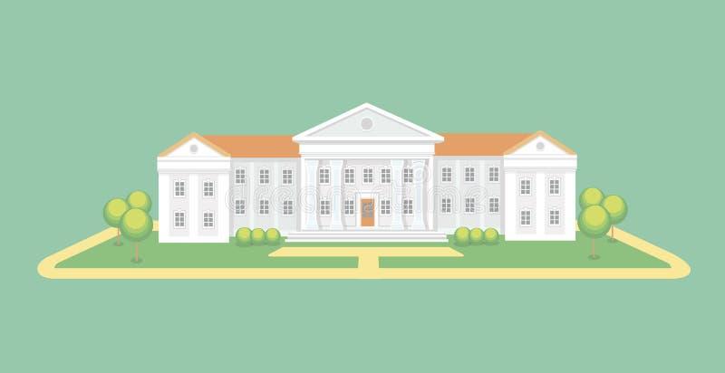 Uniwersyteta lub szkoły wyższa budynek Kampusu skalowania uniwersytet, edukacja wektoru ilustracja royalty ilustracja