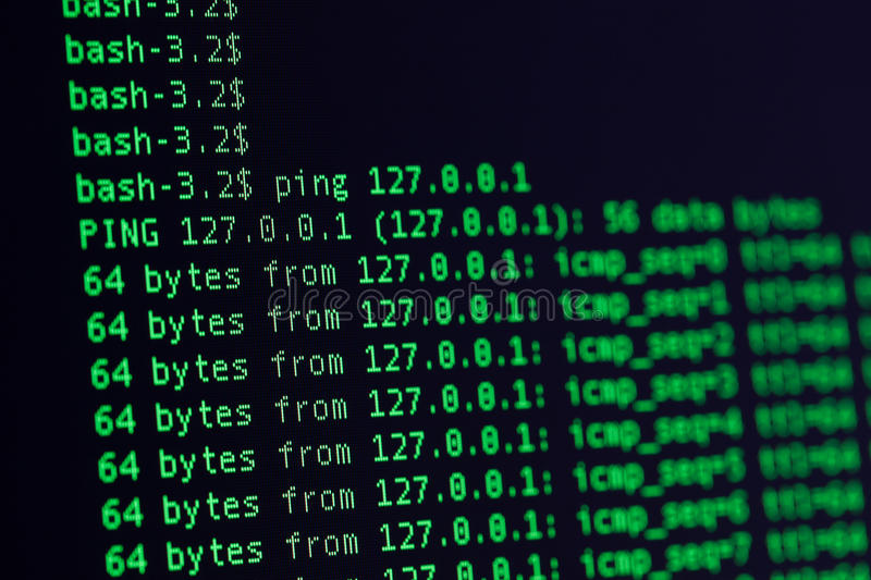 Download UNIX Bash Shell Green Color On Black Background Stock Photo