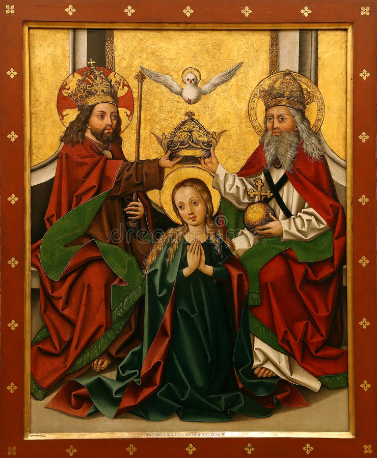 Unknown Austrian painter: Coronation of the Virgin royalty free stock images