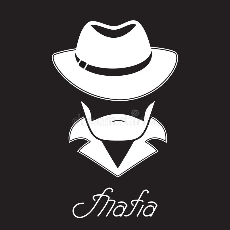 Unknown bearded man in a hat. Mafia hand lettering. royalty free illustration