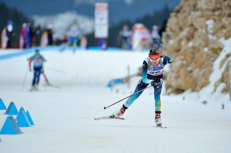 Unknown competitor at Biathlon royalty free stock photography