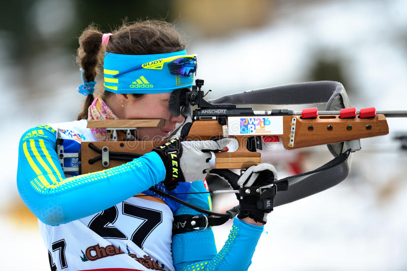 Unknown competitor at Biathlon royalty free stock images