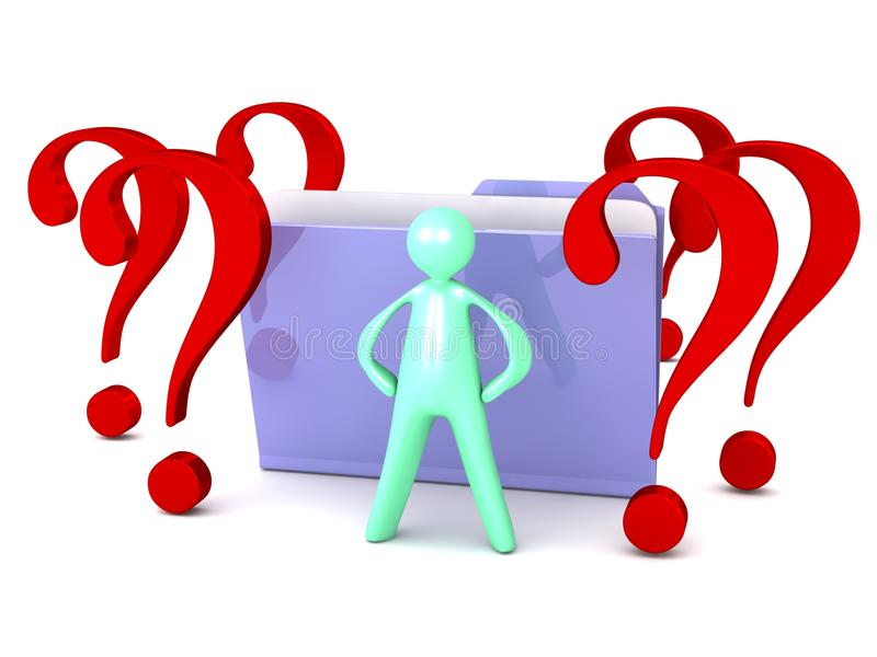 Unknown file folder with question marks and cartoon man stock illustration