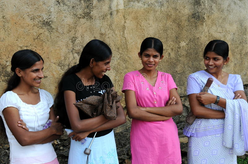 Unknown girls from the town of Pinnawala. royalty free stock images