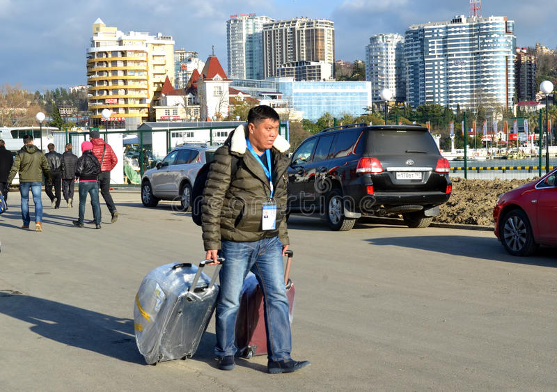 Unknown journalist from Kazakhstan arrived in Sochi. SOCHI, RUSSIA - FEBRUARY 6, 2014: Unknown journalist from Kazakhstan arrived in Sochi for the Olympics 2014 royalty free stock photo