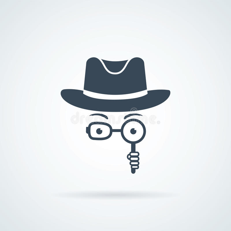 Unknown man in hat, spectacles and a magnifying glass in hand. Inspector. stock illustration