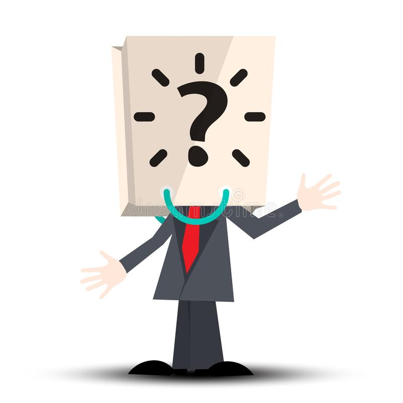Unknown Man with Paper Bag with Question Mark vector illustration