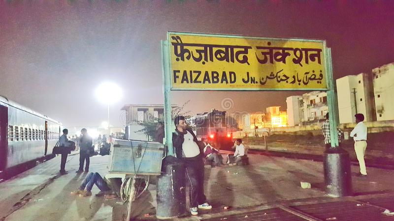 Faizabad railway station. Unknown passengers are waiting for the train at Faizabad railway station in the night time royalty free stock photos
