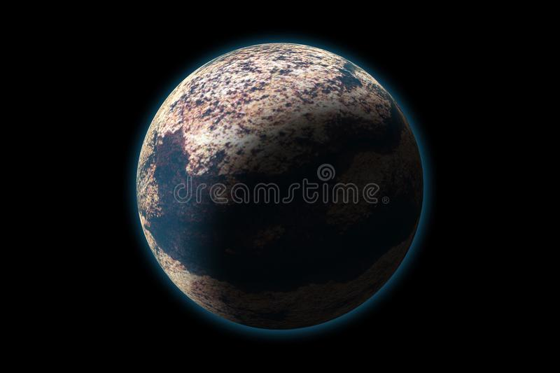 Set of unknown planet on photo texture, isolated on black vector illustration