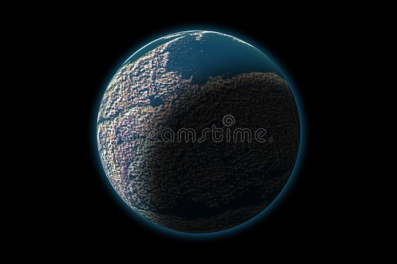 Set of unknown planet on photo texture, isolated on black royalty free illustration