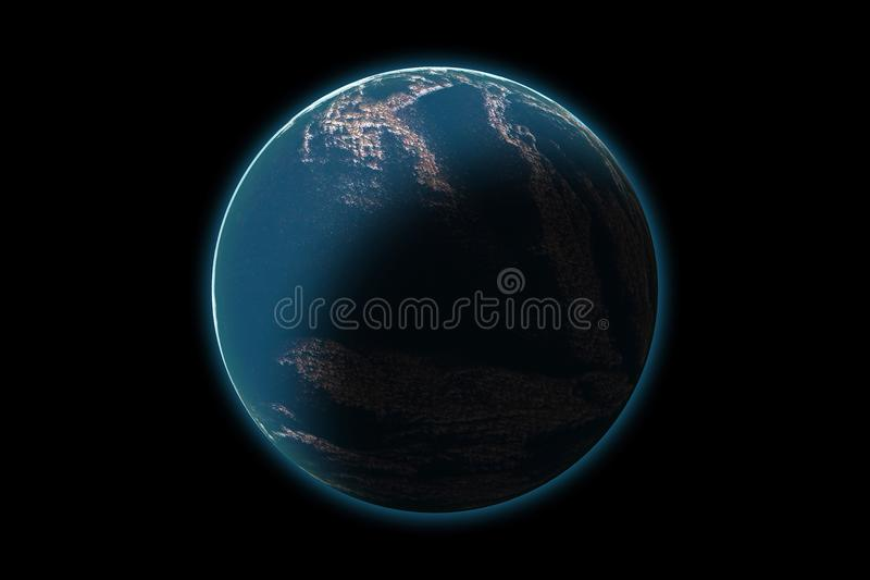 Set of unknown planet on photo texture, isolated on black stock illustration