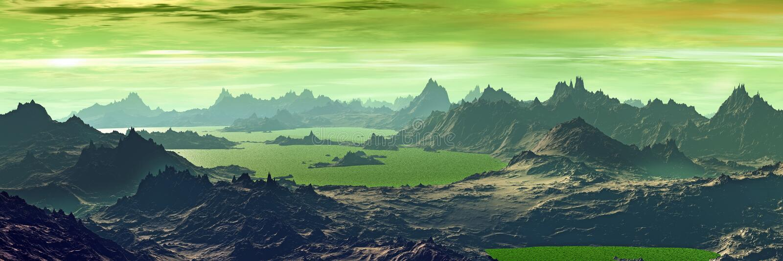 Unknown planet. Mountains. Panorama stock illustration