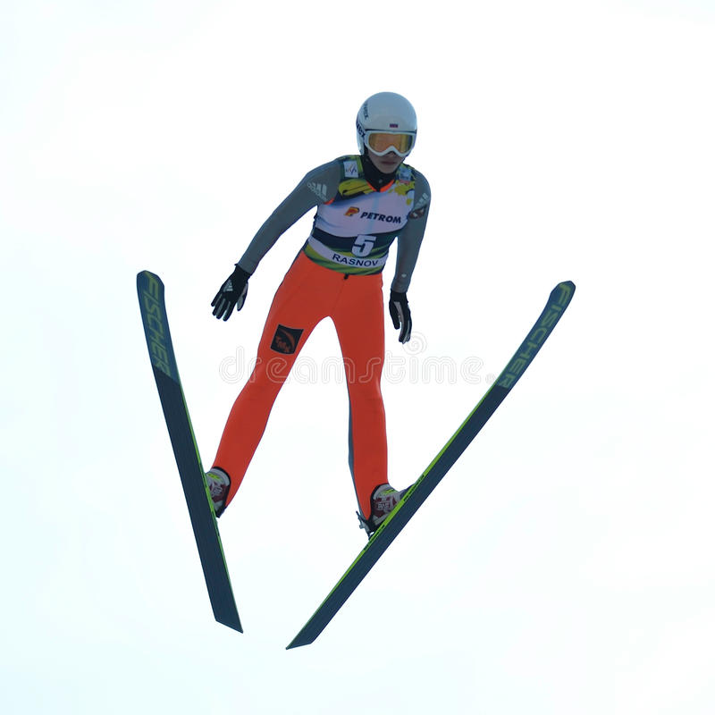 Unknown ski jumper competes. Rasnov, Romania - March 1: Unknown ski jumper competes in the FIS Ski Jumping World Cup Ladies on March 1, 2014 in Rasnov, Romania royalty free stock photography