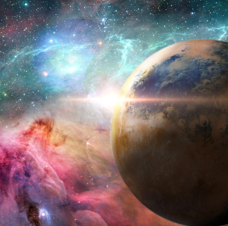 Unknown solar system. Planet solar system belonging to distant galaxy stock illustration
