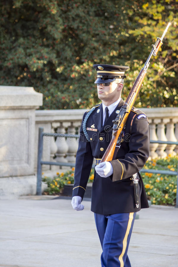 Unknown Soldier Guard Walking. Front View of the Military Guard at the Tomb of the Unknown Soldier at Arlington National Cemetery in Arlington Virginia royalty free stock photography