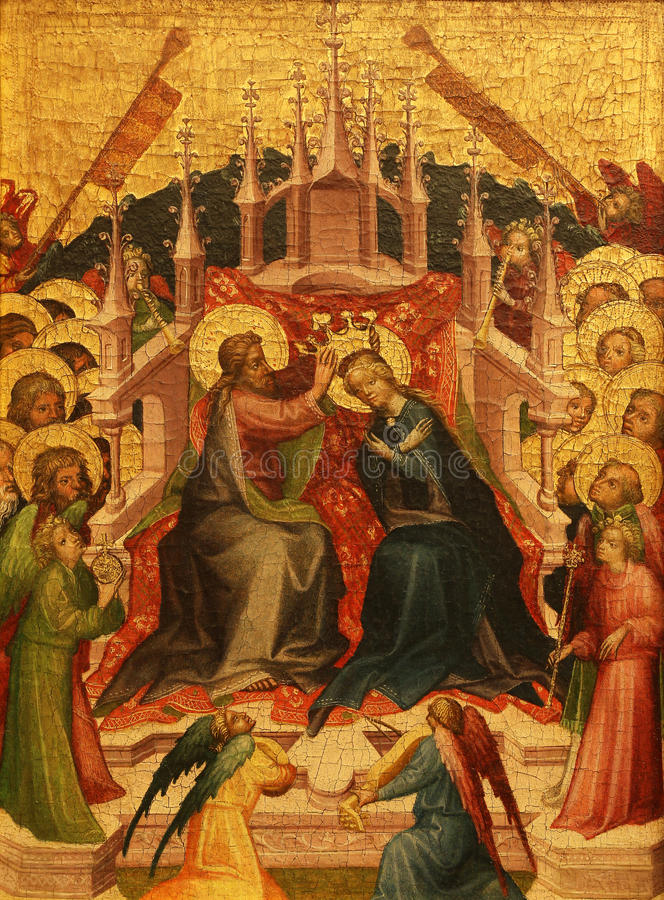 Unknown Styrian painter: Coronation of the Virgin. Old Masters Collection, Croatian Academy of Sciences in Zagreb, Croatia royalty free stock image
