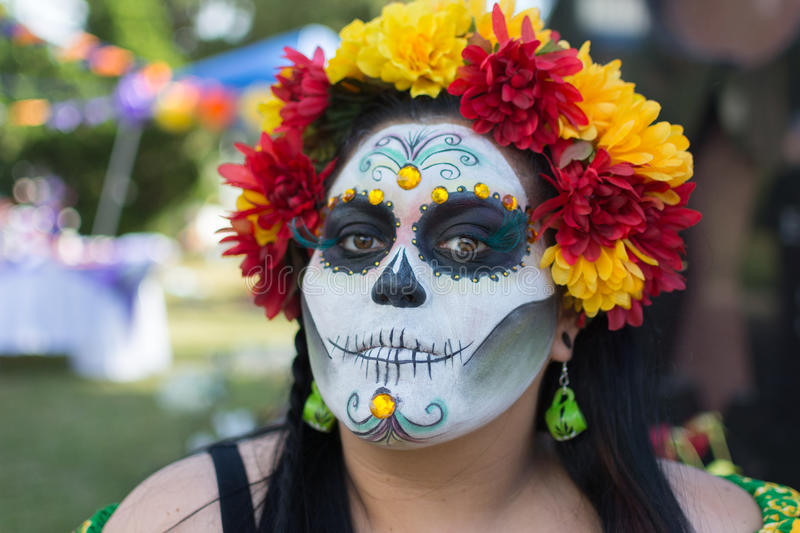 Unknown woman at the 15th annual Day the Dead Festival. Los Angeles, CA - November 1, 2014: Unknown woman at the 15th annual Day of the Dead Festival (Dia de los royalty free stock images