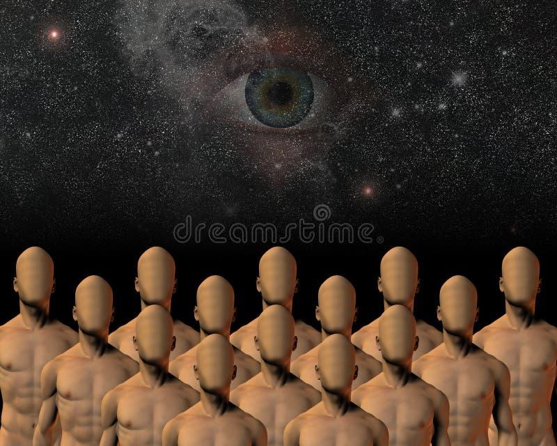 Unknowns. High resolution 3D illustration unknowns under watchful eye stock illustration