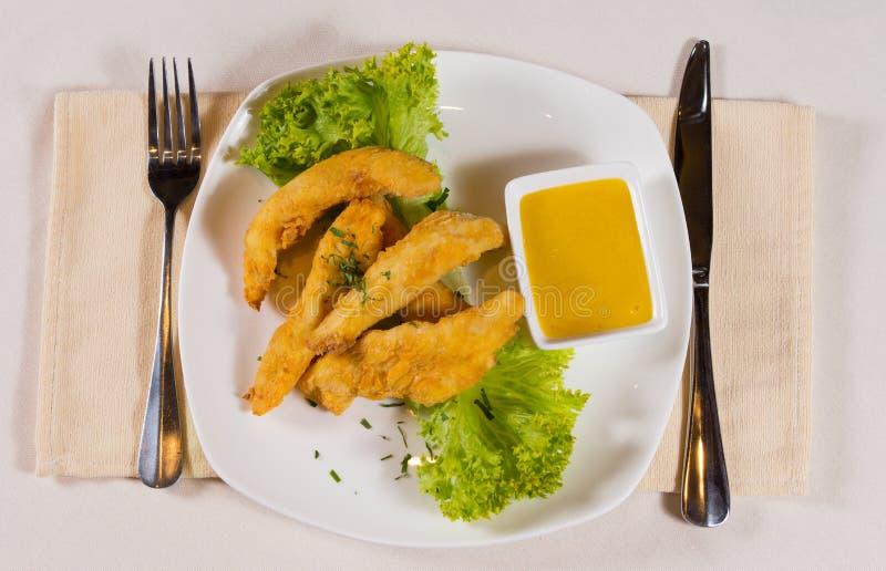 Unkosten von Hühnerfingern mit Honey Mustard lizenzfreies stockfoto