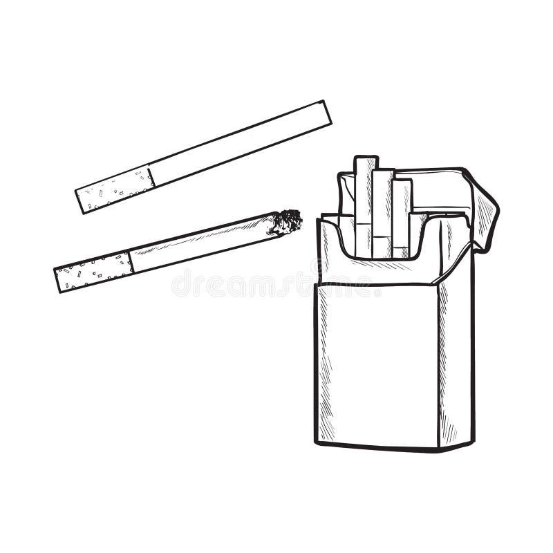 Unlabeled μόνιμο ανοικτό πακέτο των τσιγάρων, απομονωμένη διανυσματική απεικόνιση σκίτσων απεικόνιση αποθεμάτων