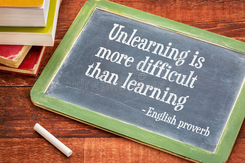 Unlearning трудне чем учащ стоковое фото rf