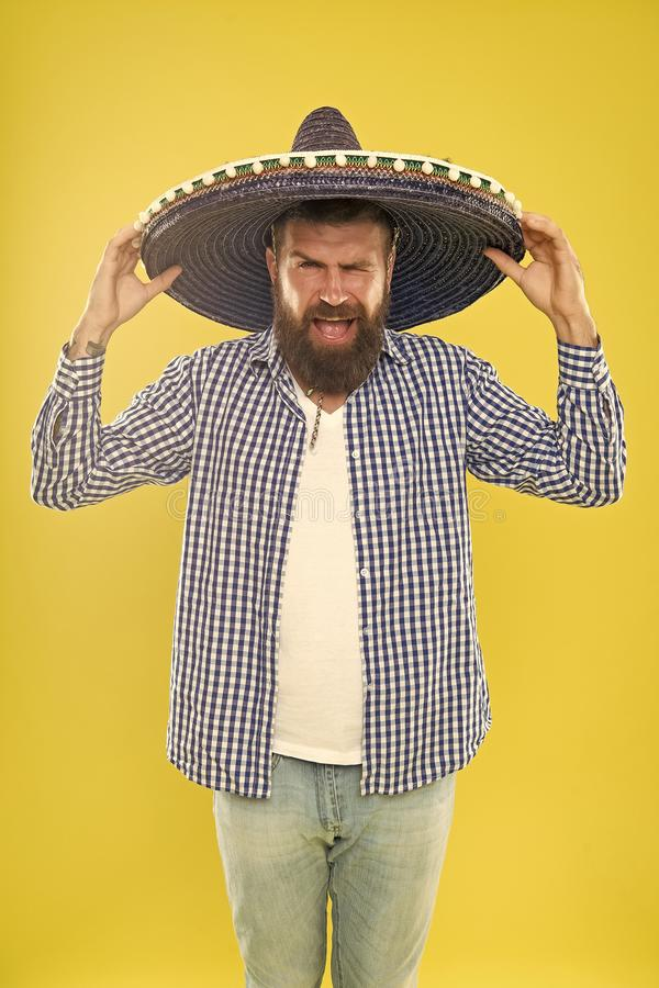 Unleashed emotions. Hipster in wide brim hat. Traditional fashion accessory for mexican costume party. He is in love stock photography